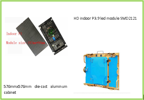P3 Haning led display SMD2121 576mm x576mm stand die cast aluminum cabinet  3years warranty